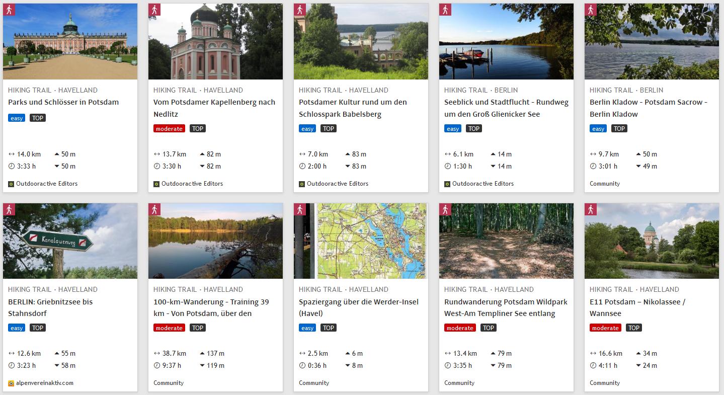 Wanderungen in und um Potsdam