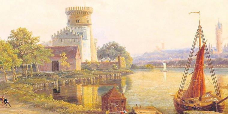 Das Ölbild des Malers C. G. Gemeinert zeigt den Blick auf die heutige Schiffbauergasse im Jahre 1856. In der Mitte die alte Zichorienmühle. Quelle: POTSDAM-MUSEUM FÜR GESCHICHTE
